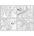 Set of four abstract background with lines wave vector image vector image