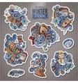 Set of Winter season doodle cartoon stickers