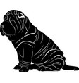 shar pei dog isolated on white background vector image vector image