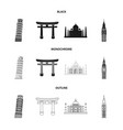 sights of different countries blackmonochrome vector image vector image