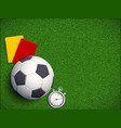 soccer ball on the grass field of stadium vector image vector image