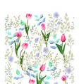 spring flowers seamless floral border vintage vector image vector image