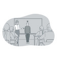 studying in school introducing pupil and teacher vector image