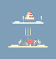 table for two serving with cake and glasses vector image