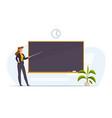 teacher in classroom near chalkboard conduct vector image vector image