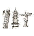 Travel Hand drawn sketch Italy Japan Brazil vector image vector image