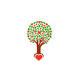 tree with loving hearts logo vector image vector image