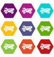 truck icons set 9 vector image vector image