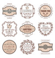 vintage romantic labels set vector image vector image
