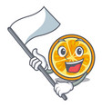 with flag orange mascot cartoon style vector image vector image