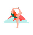 woman practicing yoga on beach at sunset girl vector image vector image