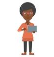 Woman using laptop vector image
