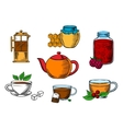 Teacups dessert and teapots icons vector image