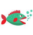 green cartoon fish flat icon vector image