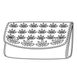 wallet with a floral pattern contour vector image