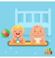 Babies drinking milk nursery flat design vector image