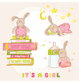 baby bunny set - for shower or arrival card vector image vector image
