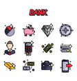 bank flat icons set vector image