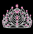 beautiful diadem crown tiara female with pearls vector image vector image