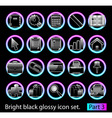 black glossy icon set 3 vector image