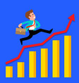 businessman runs on a growing graph vector image vector image