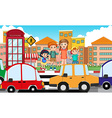 Children crossing road at daytime vector image vector image
