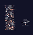 christmas and new year copper deer decoration card vector image