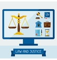 Concept with computer and law icons vector image vector image