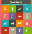 crane and lifing machines icon set vector image vector image