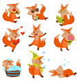 cute cartoon fox character set funny animals in vector image