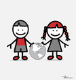 Cute children and globe vector image vector image