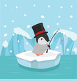 cute penguin fishing on ice floe vector image
