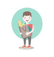 dark haired young character holding the paper bag vector image