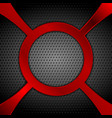 dark metal perforated background with red circle vector image vector image