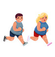 fat woman man cardio running treadmill simulator vector image