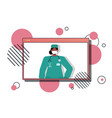 female doctor in web browser window wearing mask vector image