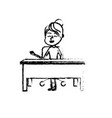 figure woman teacher sitting and explaining to the vector image vector image