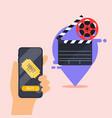 flat design concepts online cinema ticket vector image