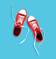 flat sport sneakers background concept vector image vector image