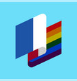 france lgbt flag french symbol tolerant gay vector image vector image