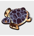 Golden figurine of turtle with blue shell vector image