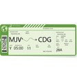 green pattern of a boarding pass ticket vector image vector image