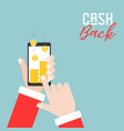 hand touch smart phone with stack of gold coins vector image vector image