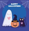 happy halloween ghost pumpkin and black cat trick vector image vector image
