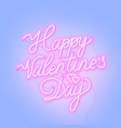 happy valentine s day neon lettering on blue vector image vector image