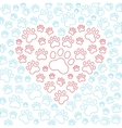 Heart with dog or cat paws background
