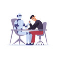 human competing with robot in arm wrestling man vector image