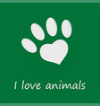 i love animals card for world wildlife day vector image