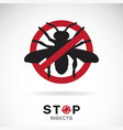 insects in red stop sign on white background vector image