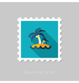 Island with palm trees flat stamp Vacation vector image